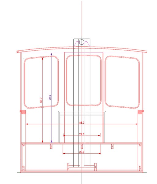Cross-section. Cabin doors are sliding, and are slightly offset to allow for 30 inch opening. Drawing by Christopher Lariviere