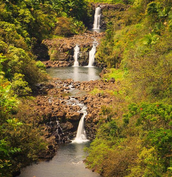 Triple Tiered Umauma Waterfalls on the Big Island of Hawaii