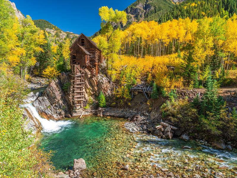 River Guardian 4: Crystal Mill Autumn Aspens: Colorado Autumn Colors Fall Foliage Fine Art Photography