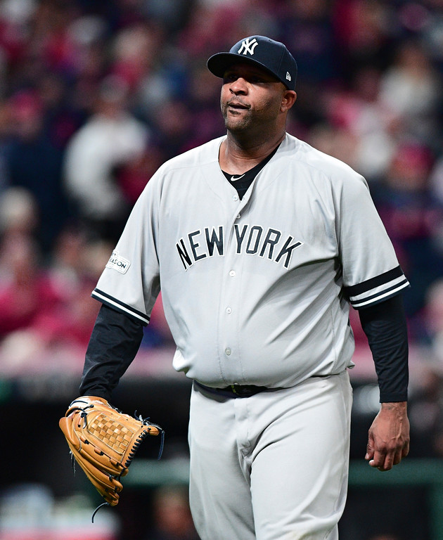 . New York Yankees starting pitcher CC Sabathia walks back to the dugout in the fourth inning of Game 5 of baseball\'s American League Division Series against the Cleveland Indians, Wednesday, Oct. 11, 2017, in Cleveland. (AP Photo/David Dermer)
