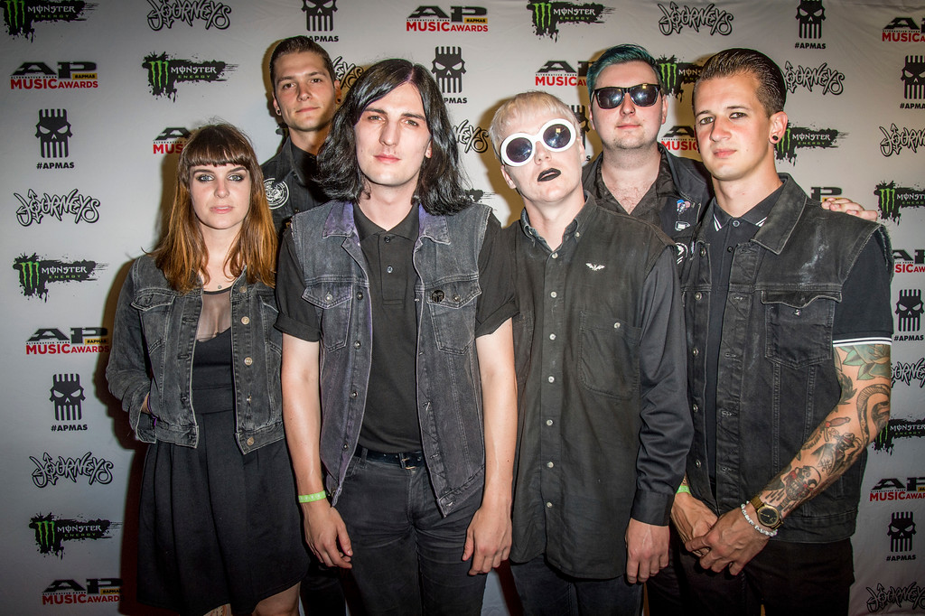 . Hannah Greenwood, from left, Oliver Burdett, William Gould, Ian Miles, Dan Bratton and Sean Scott of Creeper seen at 2017 Alternative Press Music Awards at the KeyBank State Theatre on Monday, July 17, 2017, in Cleveland. (Photo by Amy Harris/Invision/AP)