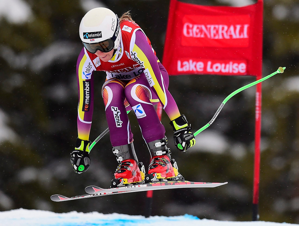 . Lotte Smiseth Sejersted, of Norway, races down the course during the women\'s World Cup downhill ski race in Lake Louise, Alberta, Saturday, Dec. 6, 2014. (AP Photo/The Canadian Press, Frank Gunn)