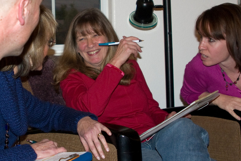 Linda White (Treasurer), Kathy Bennet (Sec), and Barbara Snarr (VP) in conclave.