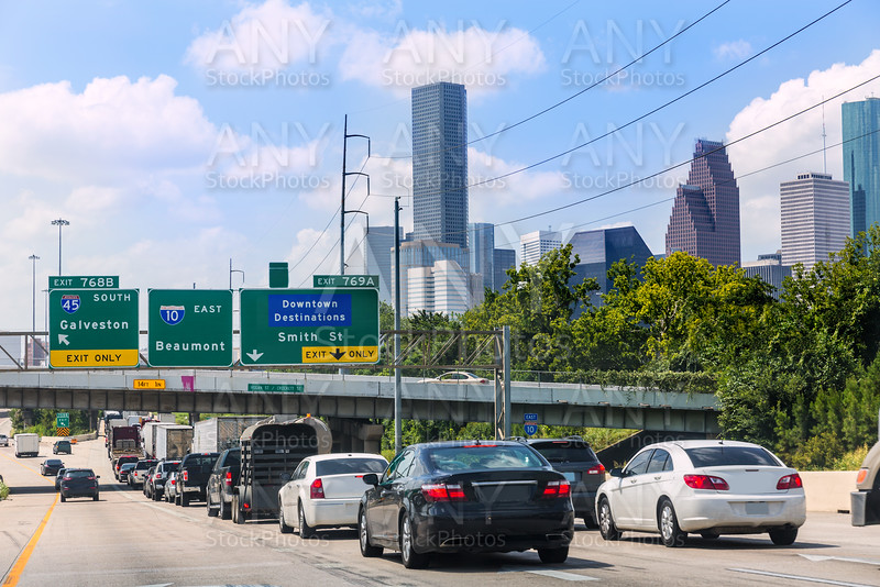 Houston Fwy traffic 10 Interstate in Texas US