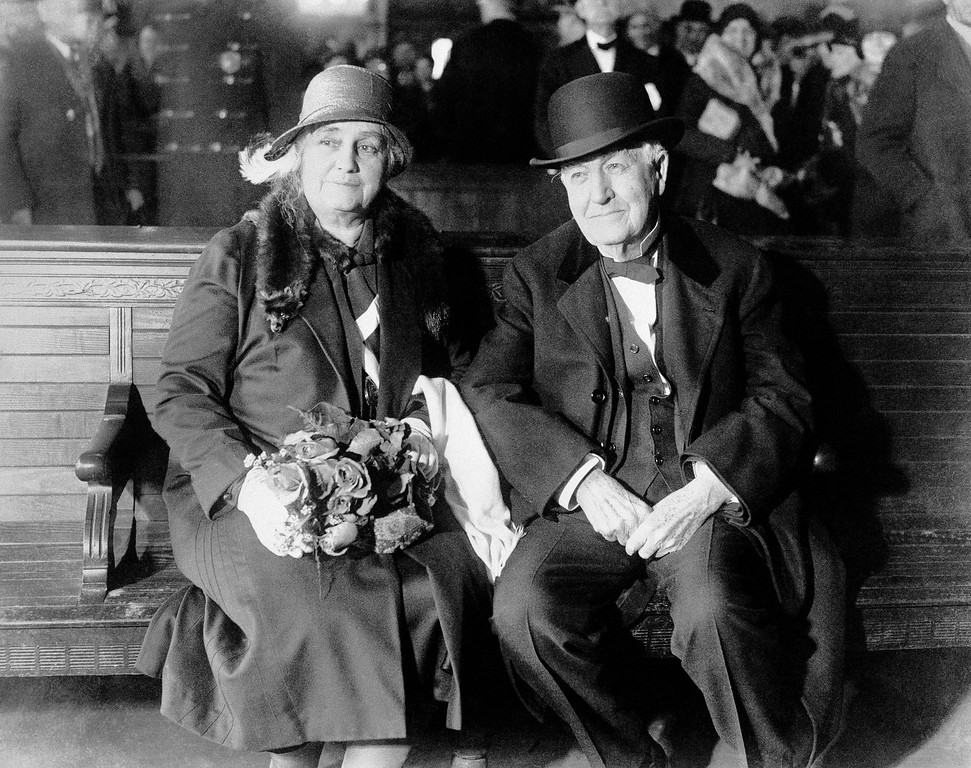 . Thomas A. Edison and Mrs. Mina Miller Edison in the market street station, Newark, N.J., on Jan. 20, 1931 when they left for Ft. Myers, Fla. the inventor?s winter home. They were accompanied by Mrs. Edison?s sister, Mrs. W.W. Nichols. Edison said he was tired, and that he planned to rest in Florida before continuing his experiments to obtain a rubber substitute from plants. The party traveled in the private car of Harvey firestone. The tire manufacturer is a close friend of the Edison. (AP Photo)