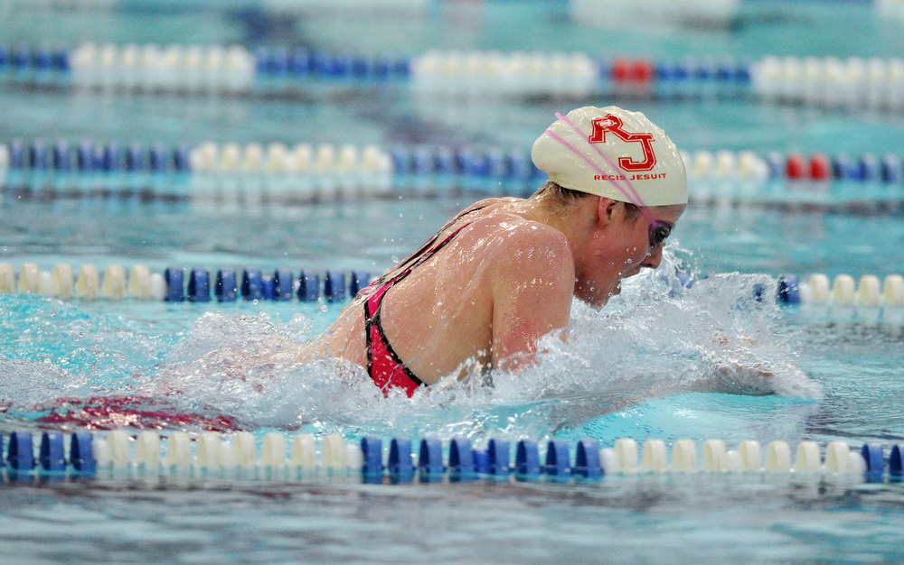 . FORT COLLINS, CO. - FEBRUARY 09: Missy Franklin of Regis Jesuit High School races in the 200 yard individual medley for the 5A state Championship on February 9, 2013 at Edora Pool Ice Center in Fort Collins, Colorado. (Photo By Hyoung Chang/The Denver Post)