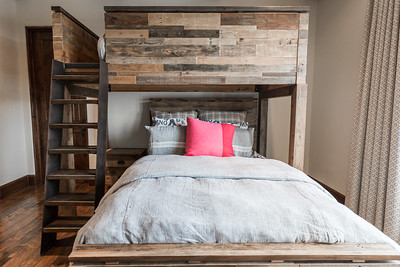 Barnwood bunk beds and storage Bedroom Design by Alicia Calhoon Architect and Interior Design Photographs 06/05/2017