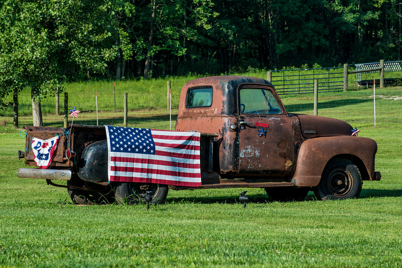 Rural Kentucky - Vintage Pickup Truck - American Flag