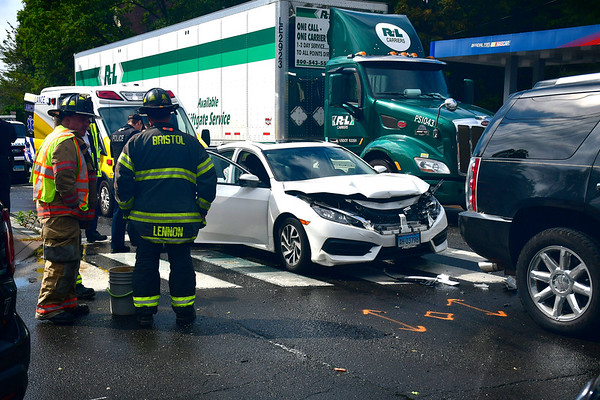10/1/2019 Mike Orazzi | StaffrThe scene of a two car crash at the intersection of Route 6 and Maple Street in Bristol on Tuesday. Two were transported from the scene with non life-threatening injuries.