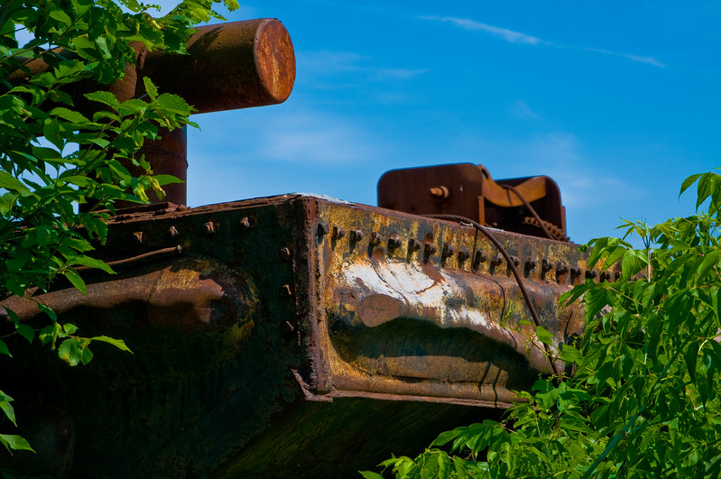 Part of an old rusting barge on the side of the Miramichi River