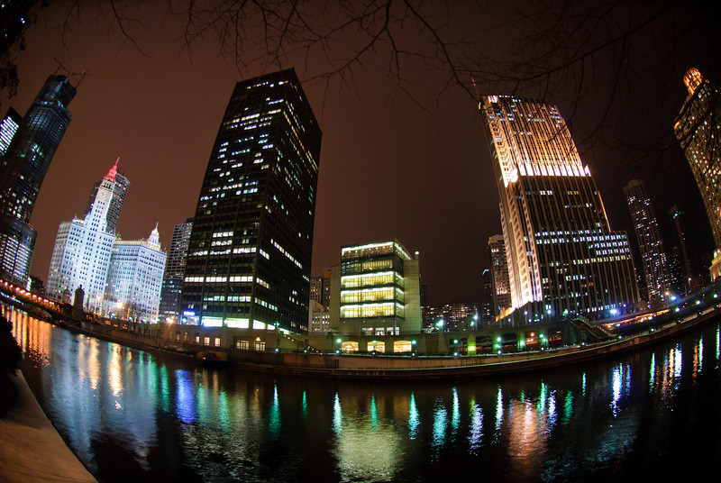 Chicago River on a Winter Night