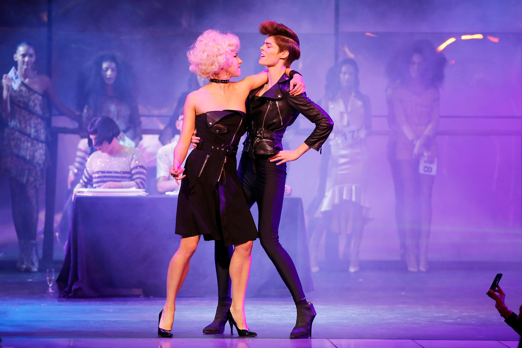 . Models performs a dance while presenting creations as part of Jean-Paul Gaultier\'s ready-to-wear Spring/Summer 2014 fashion collection, presented Saturday, Sept. 28, 2013 in Paris. (AP Photo/Jacques Brinon)