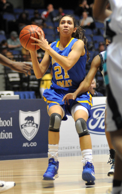 . Bishop Amat\'s Paulina Santana (#21) looks for a shot as they play Canyon Springs in the CIF-SS Division 1A girls basketball finals at the Anaheim Arena on Friday March1, 2013. Canyon Springs beat Bishop Amat 48-46. (SGVN/Staff Photo by Keith Durflinger)