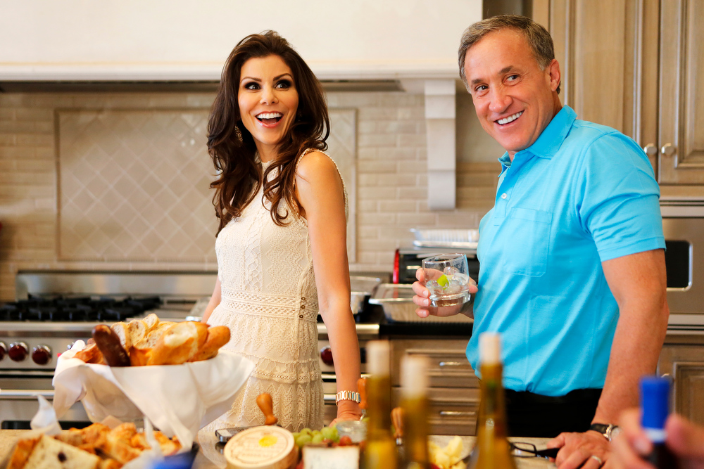 ". REAL HOUSEWIVES OF ORANGE COUNTY -- ""All Housewives Clam Bake at Rachel\'s\"" -- Pictured: (l-r) Heather Dubrow, Terry Dubrow -- (Photo by Vivian Zink/Bravo)"