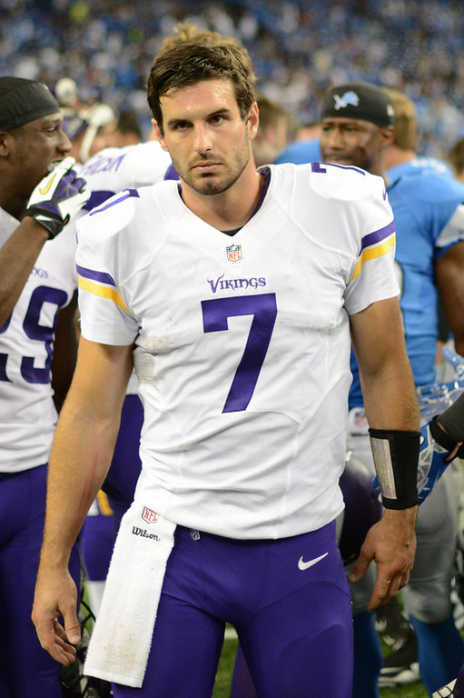 . Vikings quarterback Christian Ponder leaves the field after Minnesota\'s 34-24 loss to the Lions.  (Pioneer Press: Chris Polydoroff)