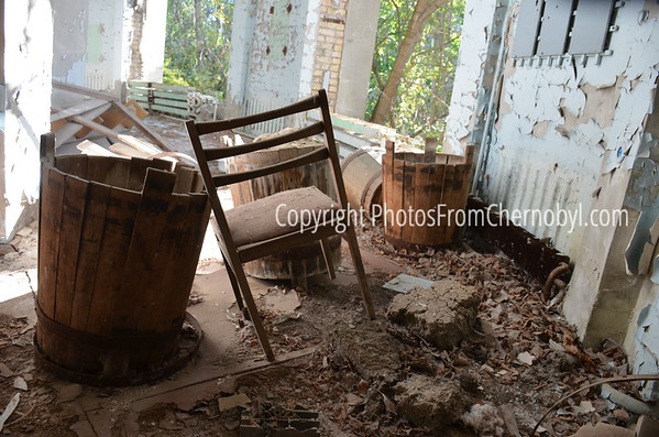 Chair in the abandoned city of Pripyat, the town that housed the workers of the Chernobyl Power Plant in Ukraine.