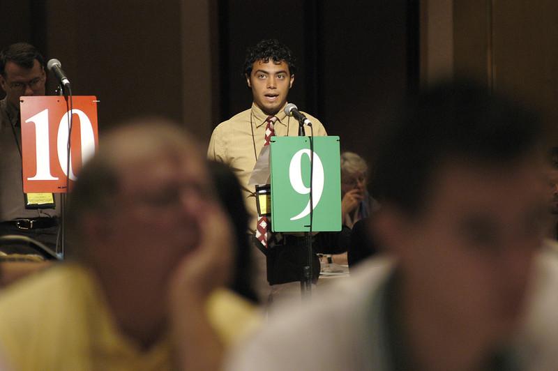 Ramsey Tesdell (Southeast Iowa) speaks during the debate.
