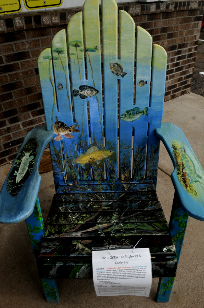 """. \""""Memory Makers\"""" (native fish species) by Steve Levey is part of the Highway 8 Chairs project. (Pioneer Press: Jean Pieri)"""