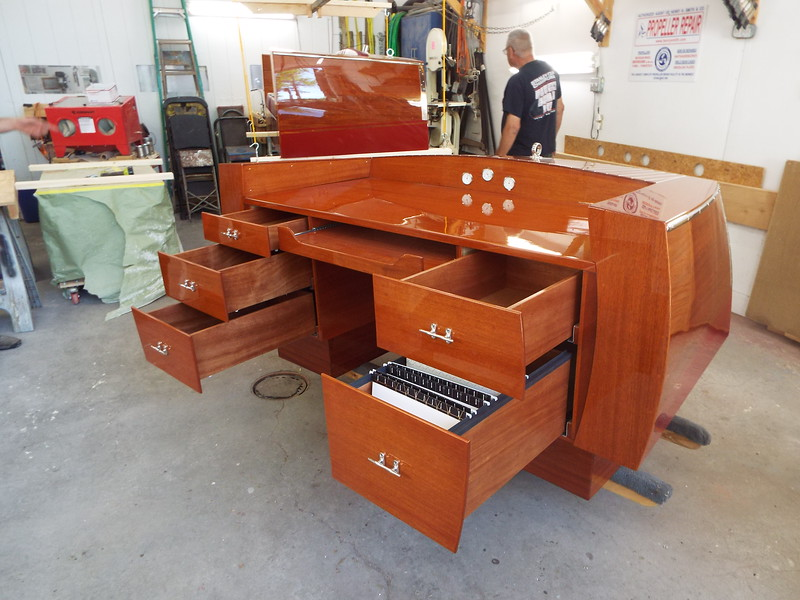 Completed desk with drawers and key board tray open.
