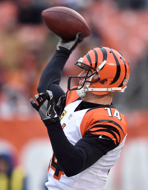 . Cincinnati Bengals quarterback Andy Dalton passes in the second half of an NFL football game against the Cleveland Browns, Sunday, Dec. 11, 2016, in Cleveland. (AP Photo/David Richard)