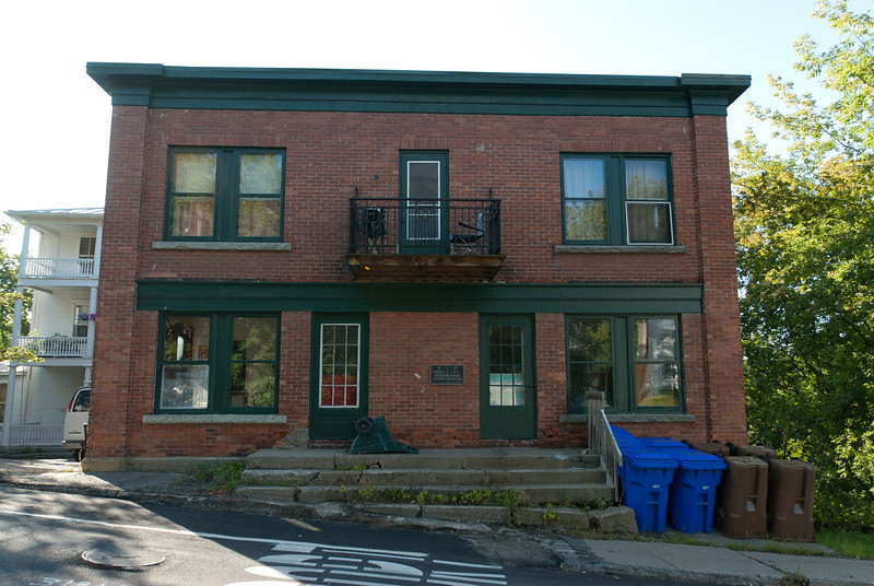 Building near US-Canada border in Derby Line, Vermont