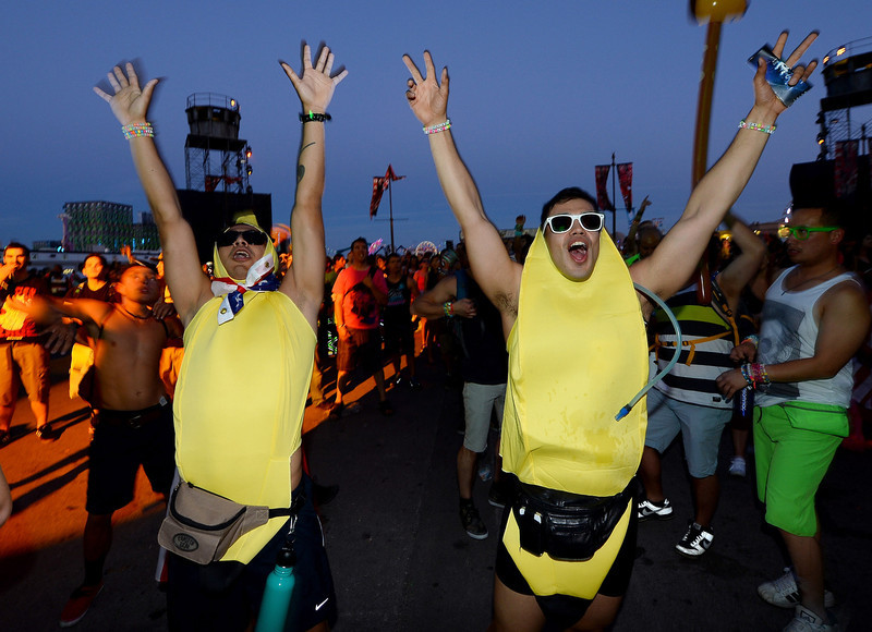 . Eric Cazares (L) and Hector Torres, both from California, dance at the 17th annual Electric Daisy Carnival at Las Vegas Motor Speedway on June 21, 2013 in Las Vegas, Nevada.  (Photo by Ethan Miller/Getty Images)
