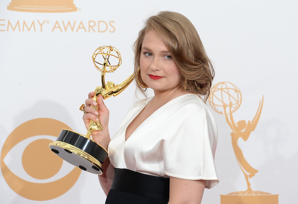". Actress Merritt Wever, winner of the Best Supporting Actress In A Comedy Series Award for ""Nurse Jackie\"" poses in the press room during the 65th Annual Primetime Emmy Awards held at Nokia Theatre L.A. Live on September 22, 2013 in Los Angeles, California.  (Photo by Jason Merritt/Getty Images)"