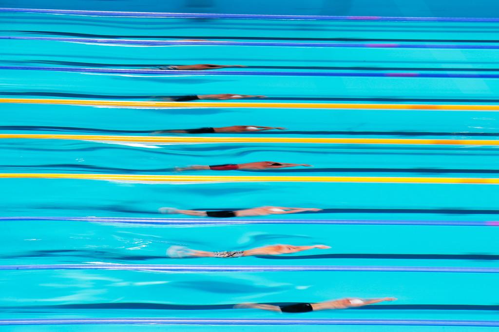 . BARCELONA, SPAIN - AUGUST 03:  A general view as athletes compete in the Swimming Men\'s Butterfly 100m Final on day fifteen of the 15th FINA World Championships at Palau Sant Jordi on August 3, 2013 in Barcelona, Spain.  (Photo by Adam Pretty/Getty Images)