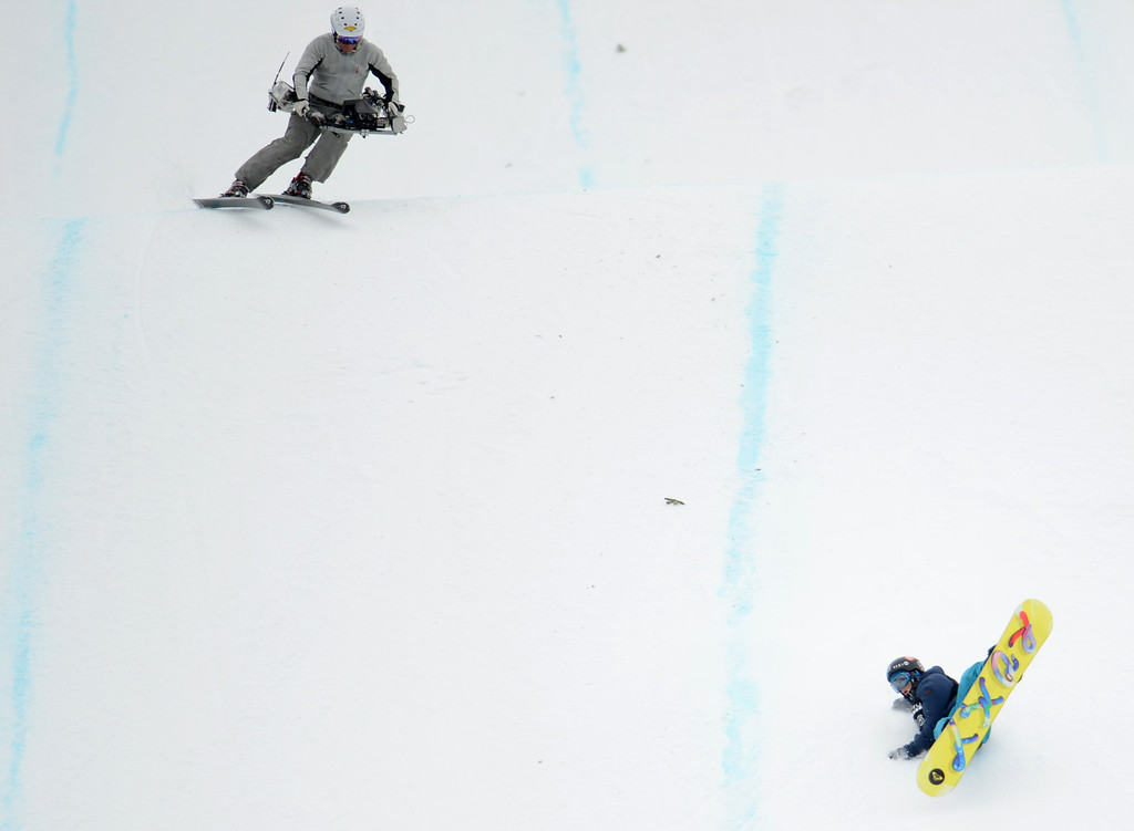 . ASEN, CO. - JANUARY 26:  Kjersti Oestgaard Buaas crashes on her last jump during the Women\'s Snowboard Slopestyle Final, January 26, 2013, at the 2013 Winter X Games at Buttermilk Mountain in Aspen. (Photo By RJ Sangosti / The Denver Post)