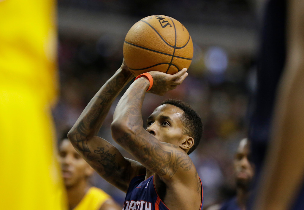 . Detroit Pistons guard Brandon Jennings (7) shoots a free-throw during the second half of an NBA basketball game against the Los Angeles Lakers at the Palace in Auburn Hills, Mich., Friday, Nov. 29, 2013. (AP Photo/Carlos Osorio)