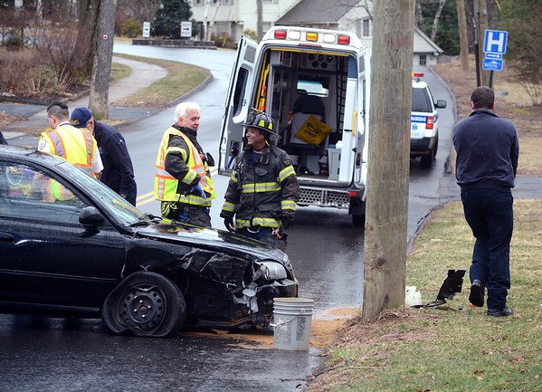 3/29/2019 Mike Orazzi | Staff The scene of a single vehicle crash into a pole on Belridge Road in Bristol Friday afternoon. The driver was transported with minor injuries.