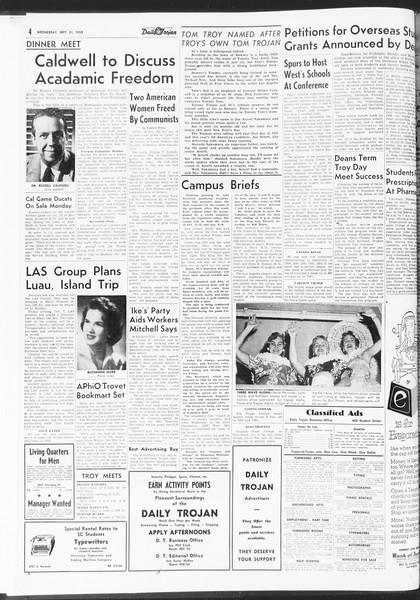 Daily Trojan, Vol. 47, No. 4, September 21, 1955