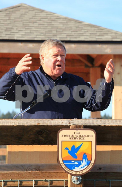 WA Congressman Norm Dicks speaking at the Feb. 1, 2011 dedication of the Nisqually Wildlife Refuge one-mile long boardwalk. 0743
