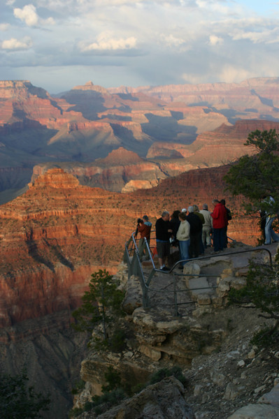 There was a lower overlook than where I was. That was too much dangling out in thin air for my taste, plus it was already crowded with viewers and photographers. So I stayed back on the main rim trail.