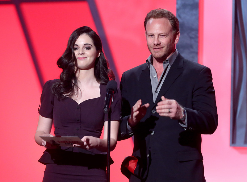 . Presenters Vanessa Marano and Ian Ziering speak onstage at the 3rd Annual Streamy Awards at Hollywood Palladium on February 17, 2013 in Hollywood, California.  (Photo by Frederick M. Brown/Getty Images)