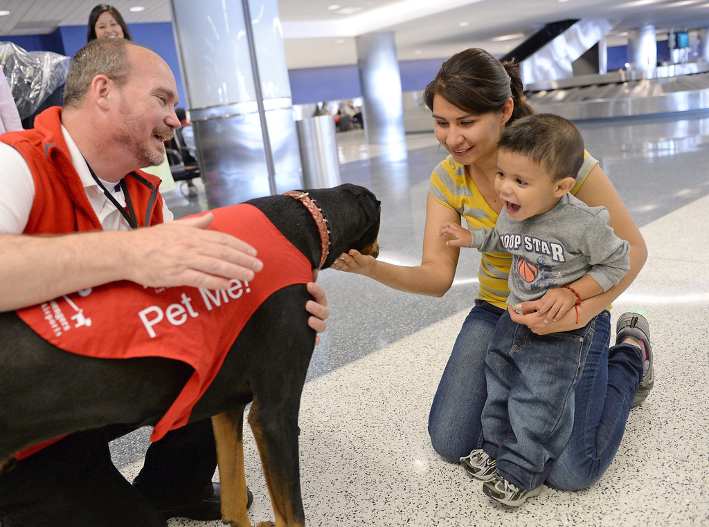 ". Marwick Kane and ""Jackie\"" meet Gabriella Ortiz and son Osvaldo Ortiz. New program at LAX called PUP (Pets Unstressing People) uses certified dogs to walk the terminals with their volunteer owners to greet passengers and help ease the tensions of modern airline traveling.   Photo by Brad Graverson 4-11-13"