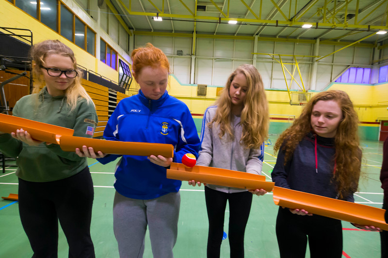 22/11/2017. Waterford Institute of Technology's (WIT) 'College Awareness Day. Pictured during the Drain Pipe Challenge are Ellen Arrigan, Aoife Casey Katie Houlihan, Erin Moloney from Mercy secondary School, Waterford. Picture: Patrick Browne  Hundreds of secondary school students from across the South East celebrated College Awareness Week by attending Waterford Institute of Technology's (WIT) 'College Awareness Day' on Wednesday 22 November 2017. The events gave secondary school students a taste of college life and helped students of all ages to become 'college ready' by raising awareness of the benefits of going to college. There was an  hourly talk/workshop on how to become college ready (including presentations on college life), an expo area, and a chance to explore the campus. Students attended workshops on sport, electronics, sport and creative as well as presentations on college life at WIT, student supports, new courses for 2018, routes of entry and clubs and societies. They also got an overview of WIT's new common and broad entry courses for 2018.     Elaine Larkin Communications & PR Executive, Waterford Institute of Technology   Phone: +353 51 845577  Mobile: 087-7105148