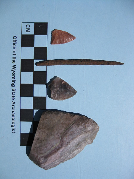 Stone tools and a trade metal awl from a lodge pad at the Burnt Wickiup Site. The combination of stone and metal tools at the site indicate that it was occupied around the time that european explorers first entered the area.
