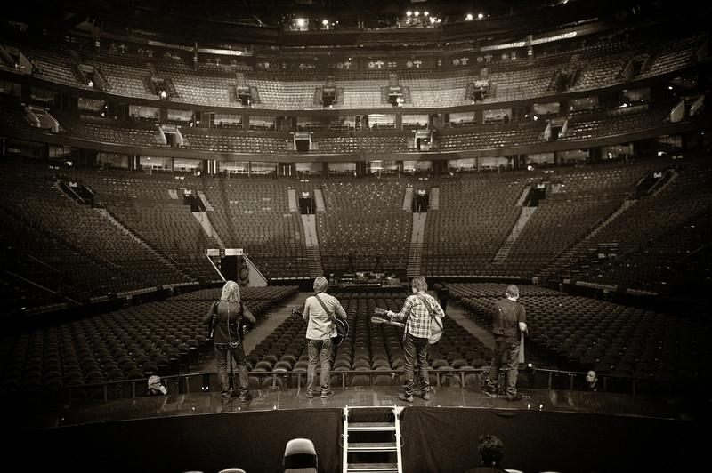 . February 18, 2011 - Bon Jovi rehearses at sound check before their show at the Bell Centre in Montreal, QC on February 18, 2011. The band is (from l-r) keyboardist David Bryan, lead singer Jon Bon Jovi, guitarist Richie Sambora, and drummer Tico Torres.  (Photo credit: David Bergman / Bon Jovi)
