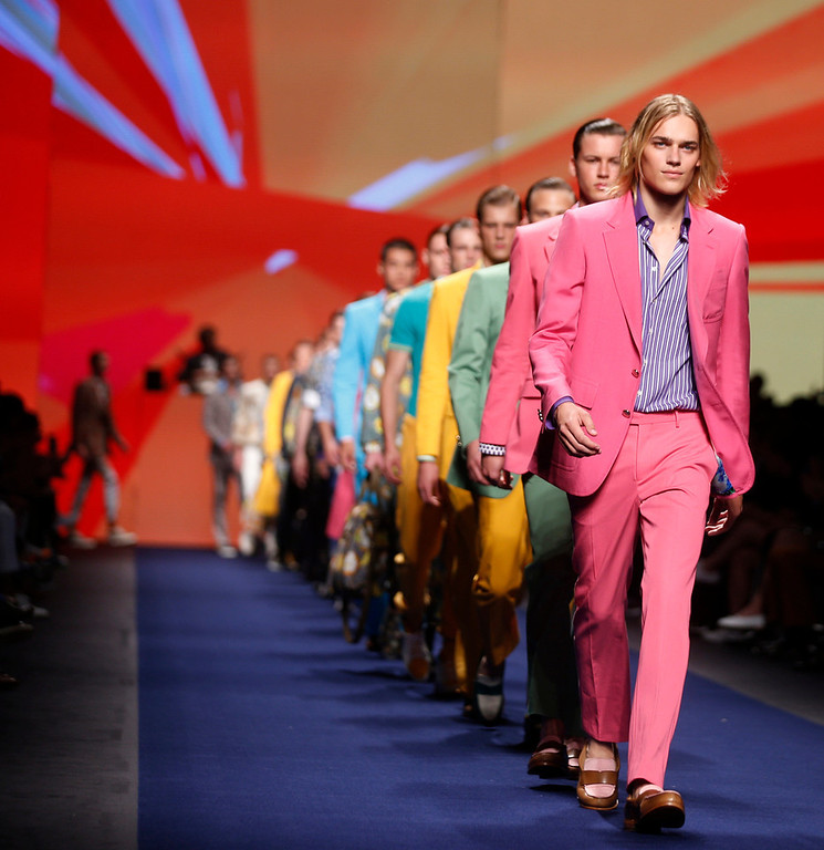 . Models wear creations for Etro men\'s Spring-Summer 2015 collection, part of the Milan Fashion Week, unveiled in Milan, Italy, Monday, June 23, 2014. (AP Photo/Luca Bruno)