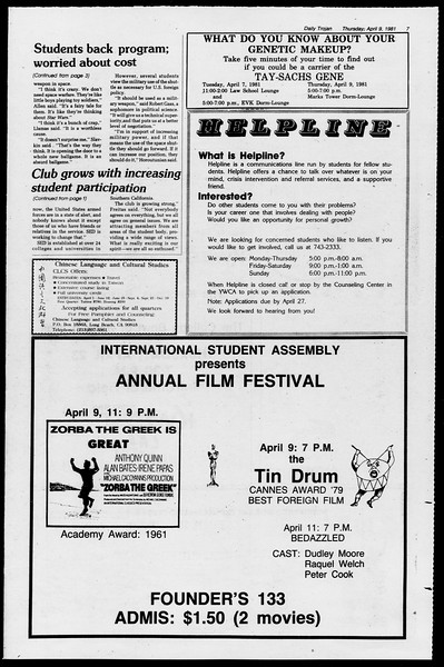 Daily Trojan, Vol. 90, No. 44, April 09, 1981
