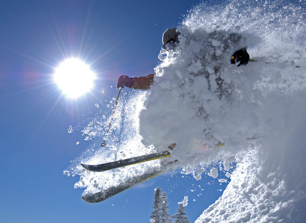 . Colorado # 2.  Olympic medalist Nelson Carmichael busts through the powder at the Steamboat Ski Resort in Steamboat Springs, Colorado Monday Jan . 14, 2008. (AP Photo/Steamboat Ski & Resort, Larry Pierce)