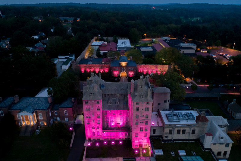 Pine2Pink - Mercer and Michener Museum drone view