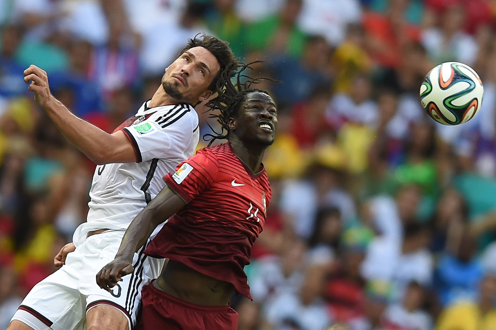 . Germany\'s defender Mats Hummels (L) challenges Portugal\'s forward Eder for the ball during the Group G football match between Germany and Portugal at the Fonte Nova Arena in Salvador on June 16, 2014, during the 2014 FIFA World Cup.     FRANCISCO LEONG/AFP/Getty Images