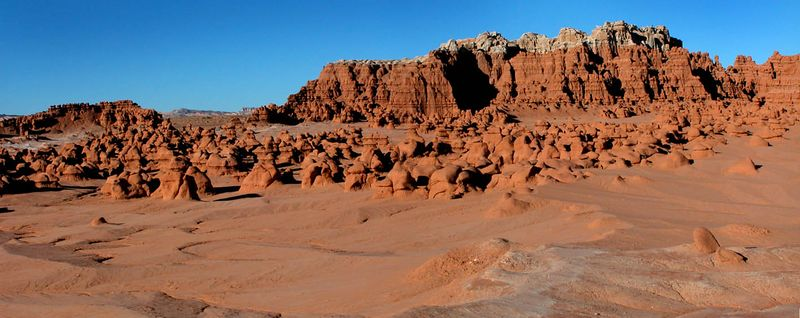 Goblin Valley State Park by day. It is a very strange place to explore. This is two images that have been stitched together.