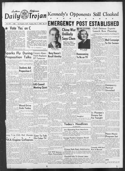 Daily Trojan, Vol. 42, No. 37, November 07, 1950