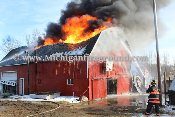 3/16/18 - Rives-Tompkins Twp barn fire, 8330 Churchill Rd