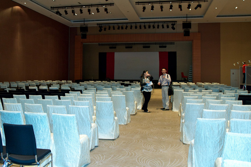 Dr Lau Lee Gong inspecting the hall. 9th Malaysian National Haematology Scientific Meeting. Pullman Kuching, 29th April to 1st May 2011.