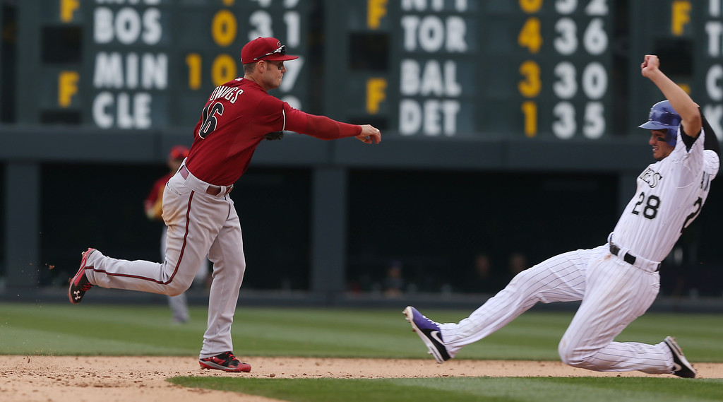 . Arizona Diamondbacks shortstop Cliff Owings, left, forces out Colorado Rockies\' Nolan Arenado at second base on the front end of a double play hit into by DJ LeMahieu to end the fifth inning of the MLB National League baseball game in Denver on Sunday, April 6, 2014. (AP Photo/David Zalubowski)