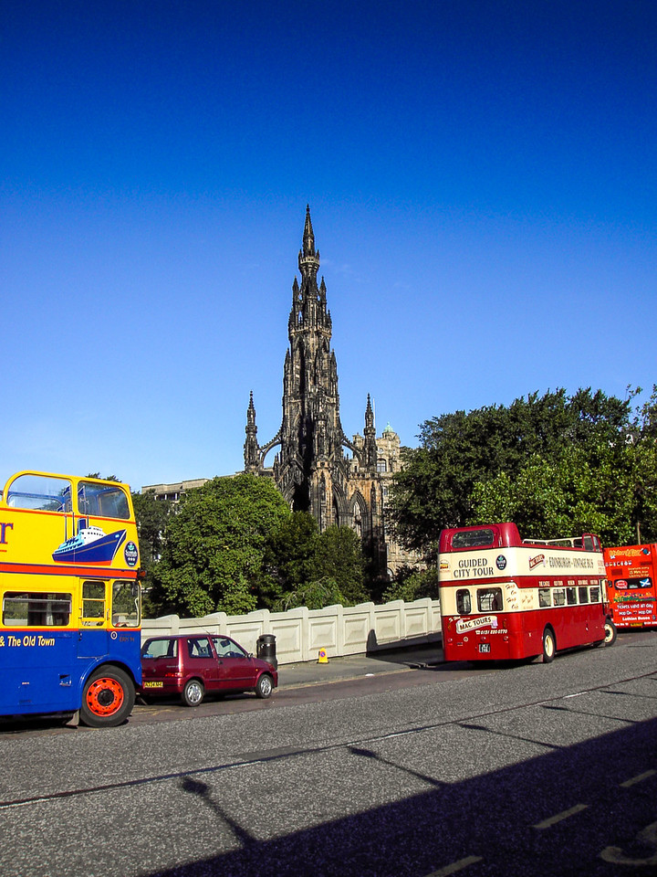 Edinburgh, Scotland<br /> Bridge over Waverley Station, and the Scott Monument (1844) beyond.